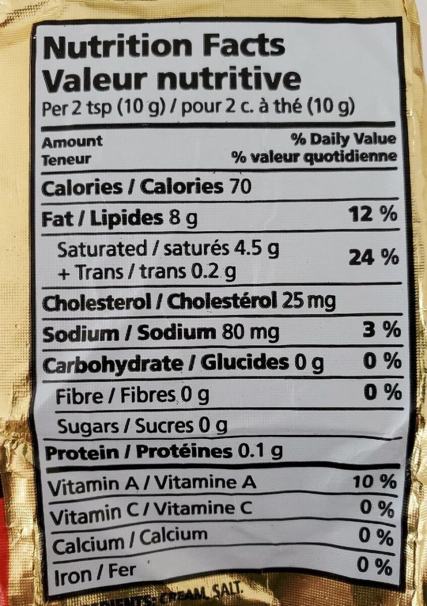 Beurre salé - Nutrition facts - fr