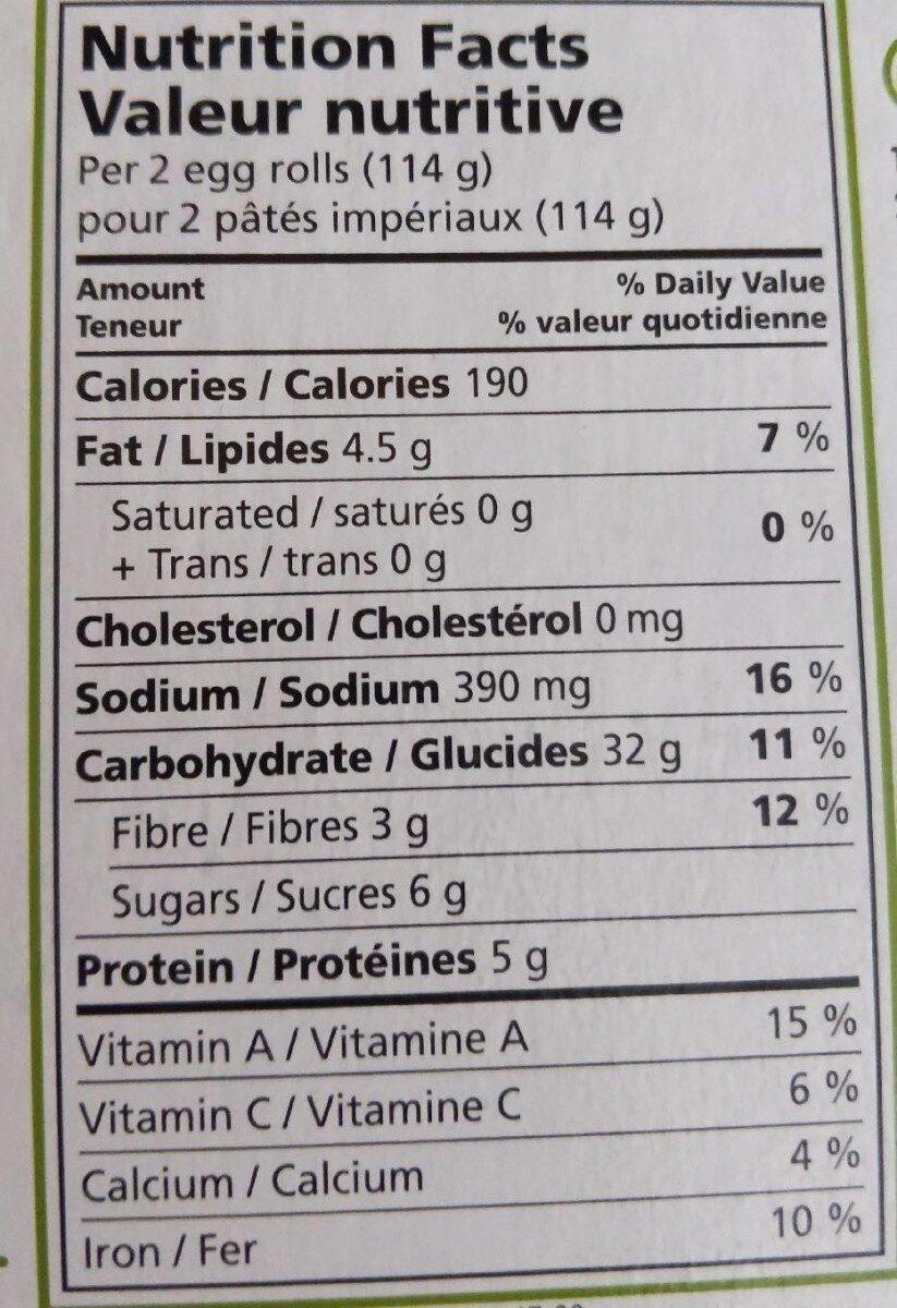 Pâtés impériaux aux légumes non cuits - Informations nutritionnelles - fr