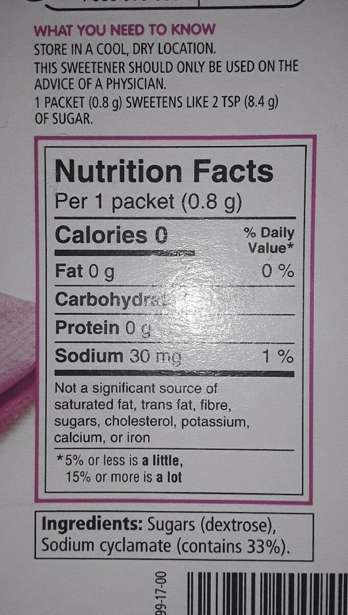 no calorie sweetener - Nutrition facts - fr