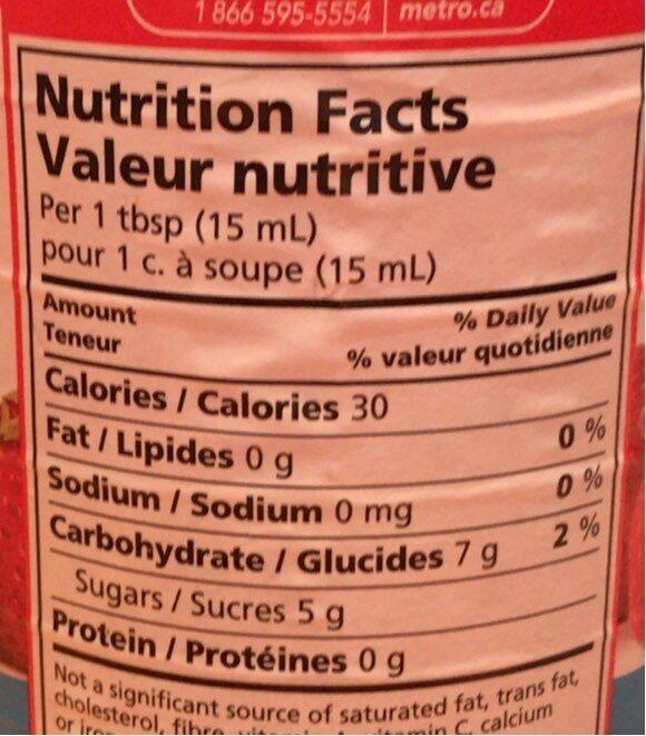 Tartinade de fraise - Informations nutritionnelles - fr