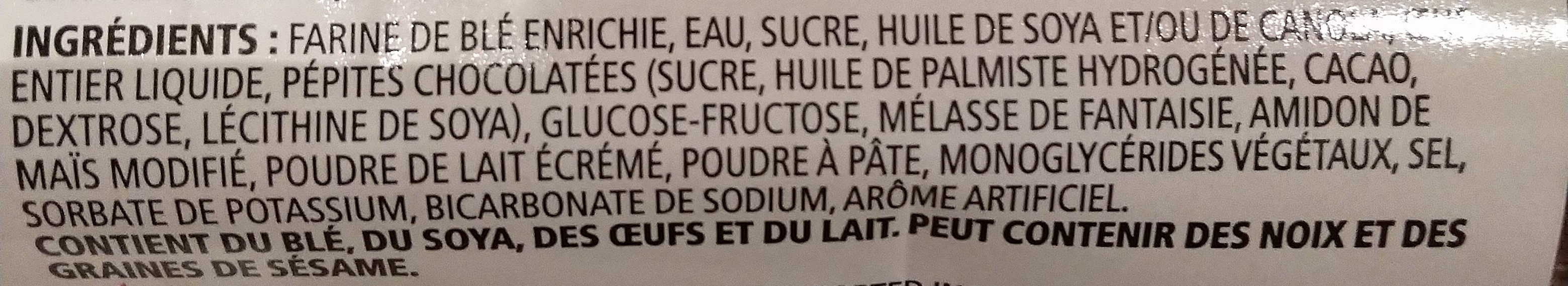 Muffins pépites chocolatées - Ingrédients - fr