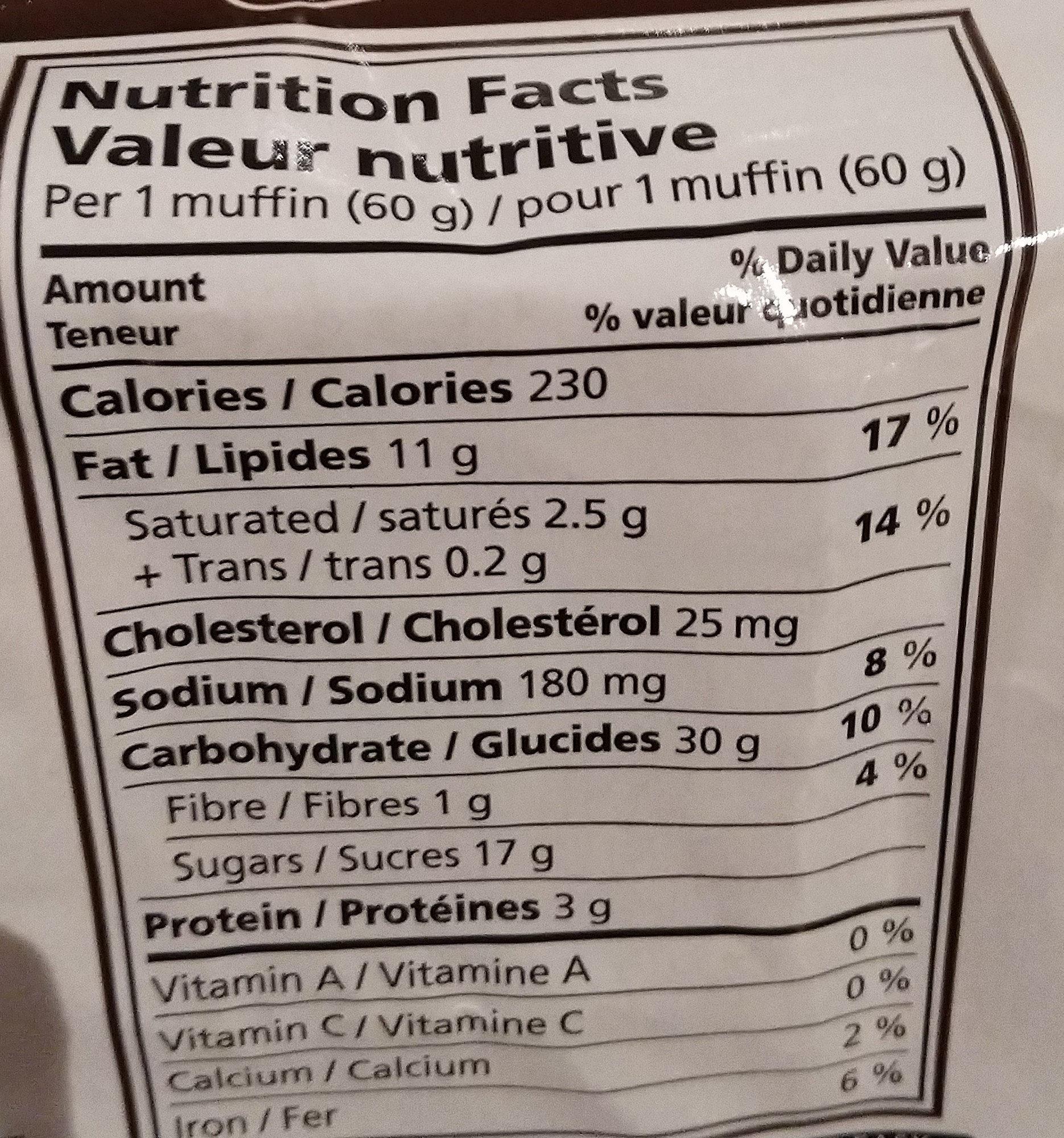 Muffins pépites chocolatées - Informations nutritionnelles - fr