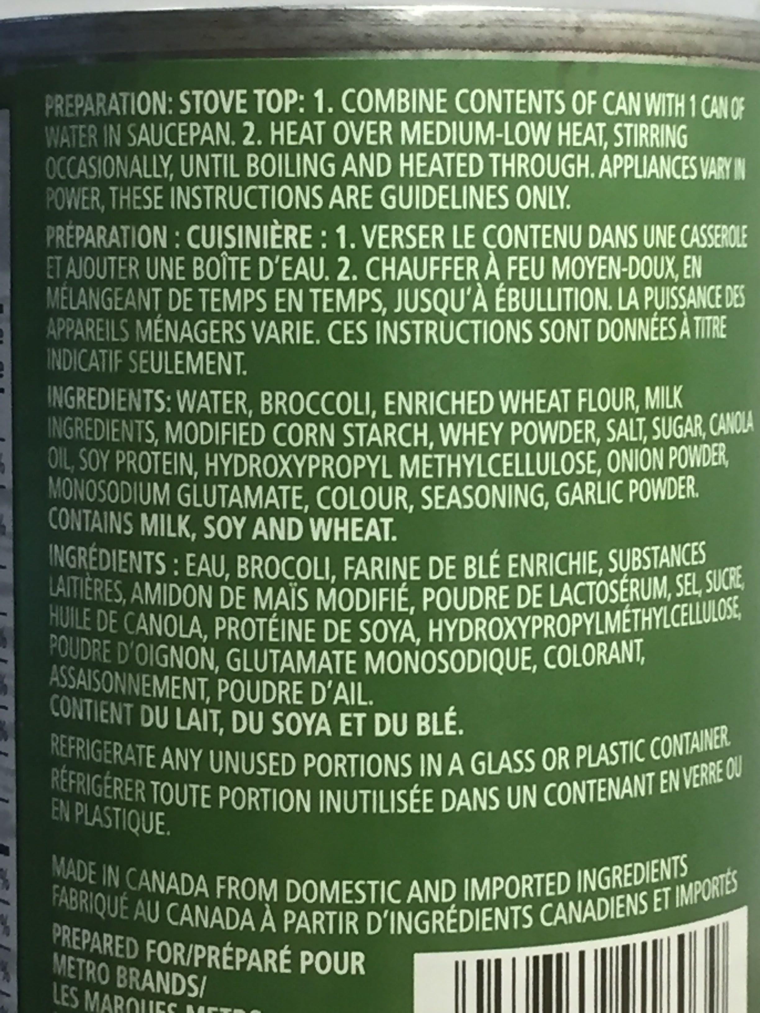 Crème de brocoli - Ingrédients - fr