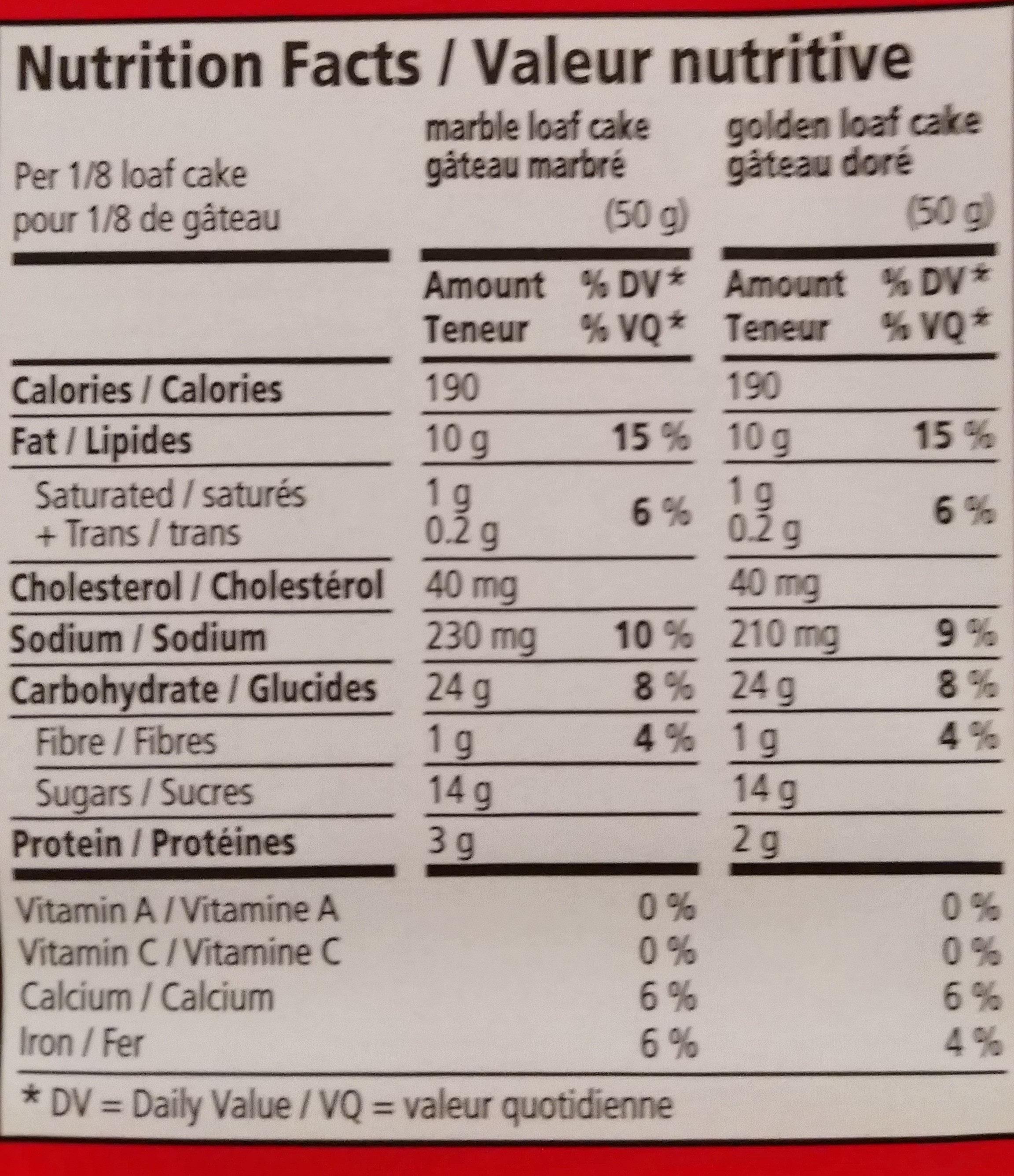 Marbré Duo - Informations nutritionnelles