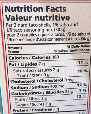 Kit taco - Informations nutritionnelles - fr