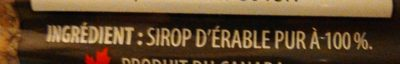 Sirop d'Érable Foncé - Ingredients - fr