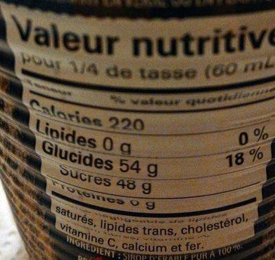 Sirop d'Érable Foncé - Nutrition facts