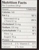 Le biscuit chocolat blanc et noix de macadam - Informations nutritionnelles - en
