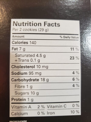 Chocolate chip Cookie - Nutrition facts