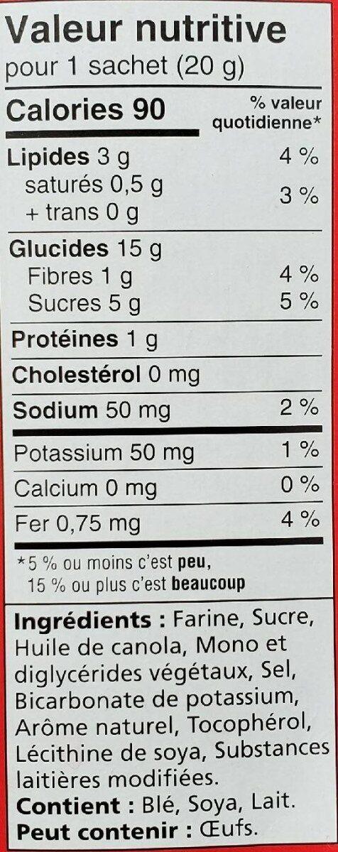 Biscuits thé social - Informations nutritionnelles - fr