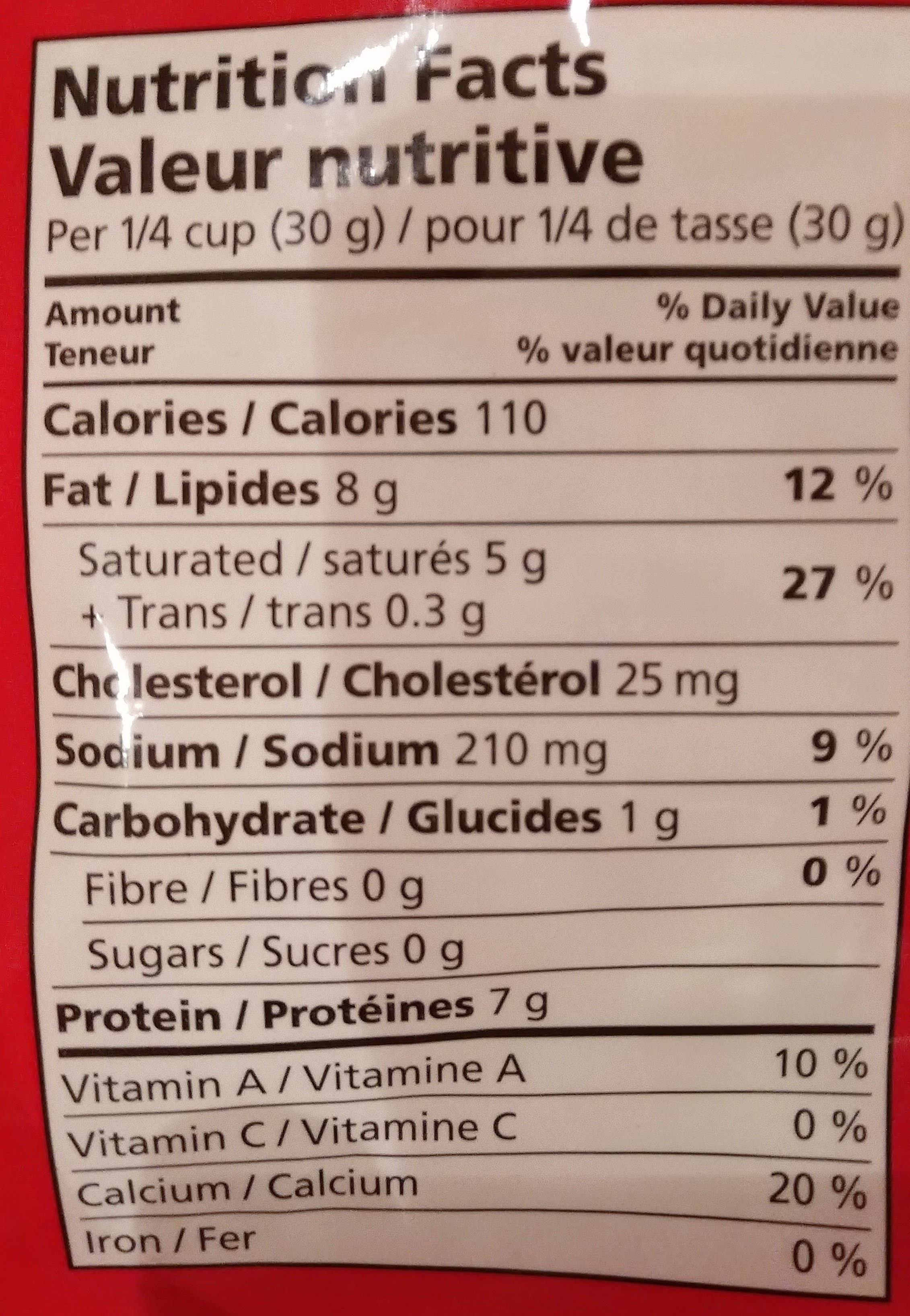 Mélange de fromages râpés tex mex - Informations nutritionnelles - fr