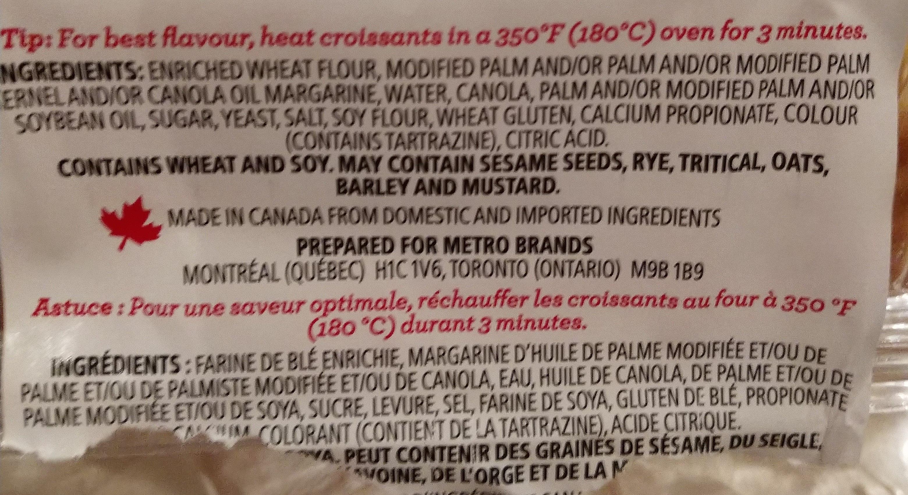 10 croissants - Ingrédients - fr