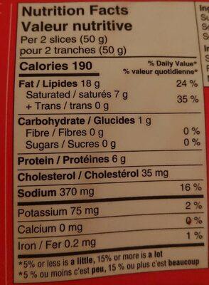 Bacon - fumé naturellement - Informations nutritionnelles - fr