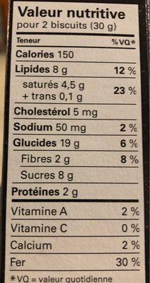 Le biscuit signature chocolat noir - Nutrition facts - en