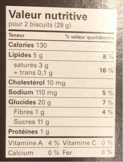Le Biscuit pépites de chocolat, avoine et canneberge - Nutrition facts - fr