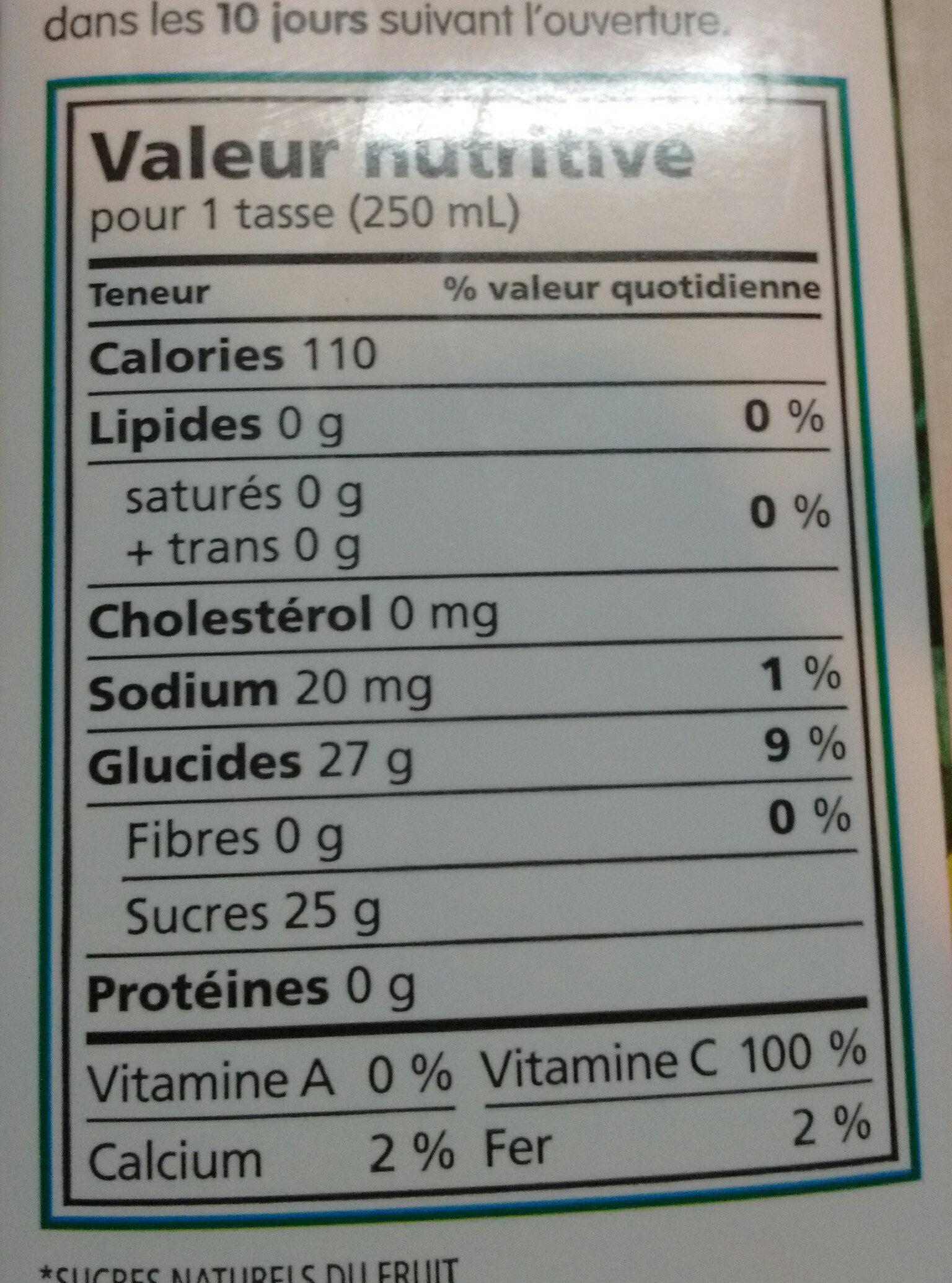 Mélange de jus 100% - Explosion d'ananas - Informations nutritionnelles - fr