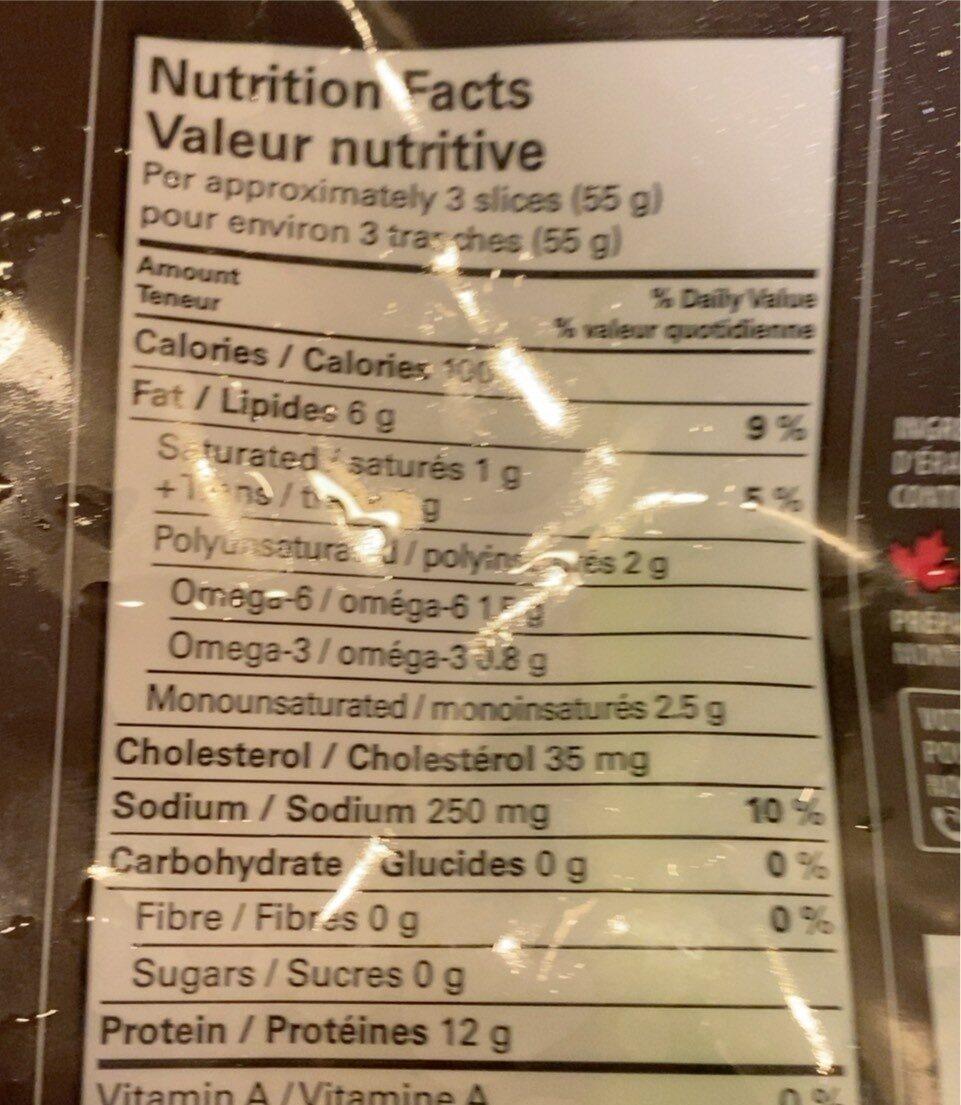 Saumon atlantique fumé - Informations nutritionnelles - fr