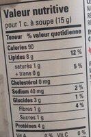 Peanut butter - Informations nutritionnelles - en