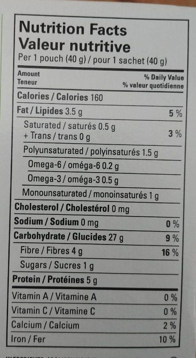 Gruau instantané multigrains avec graine de lin - Voedingswaarden - fr