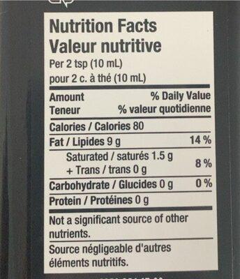 Huile d'avocat - Nutrition facts - fr