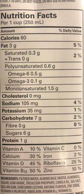 Lait d'amande - Nutrition facts