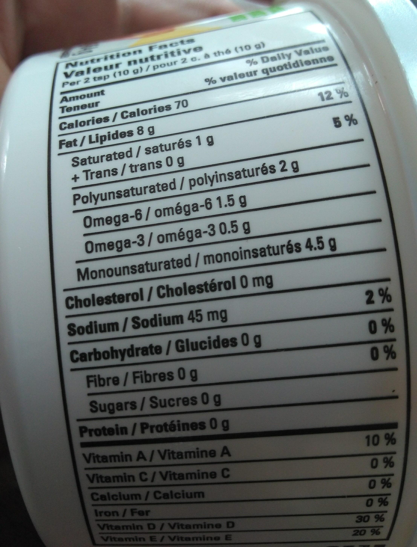 Naturalia Margarine Vegam - Informations nutritionnelles - en