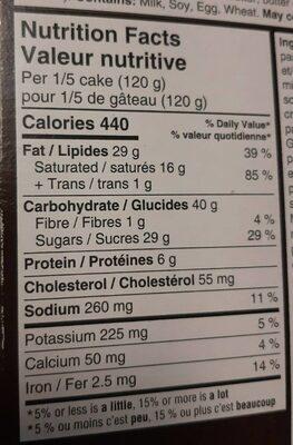 Tuxedo Gâteau au fromage - Informations nutritionnelles - fr