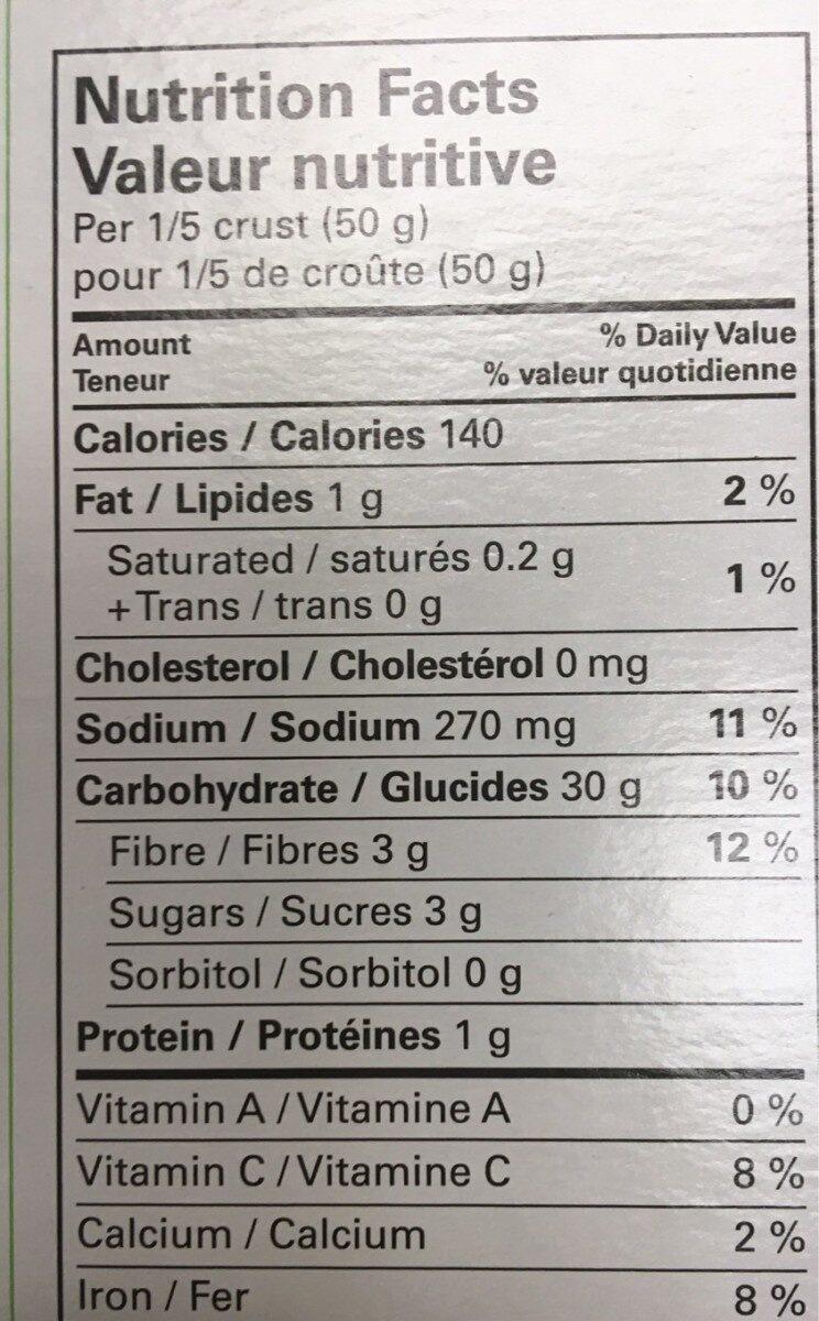 Croutes a pizza au chou fleur - Informations nutritionnelles - fr
