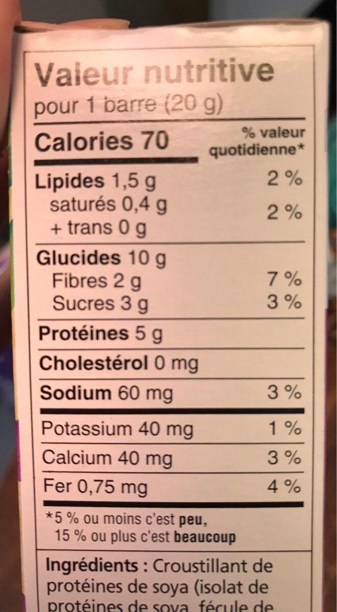 Barres de cereales pour enfant - Nutrition facts - fr