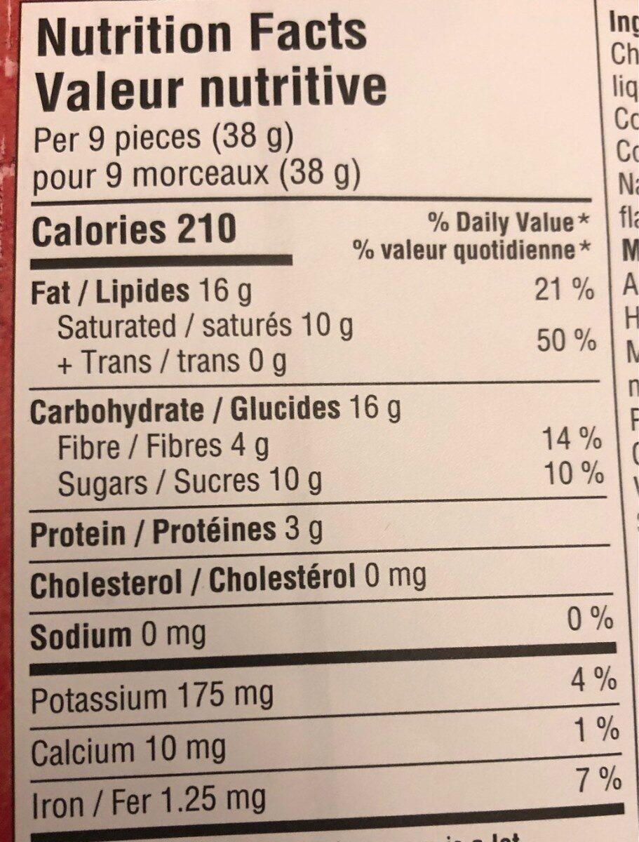 72% cacao chocolat noir - Informations nutritionnelles - fr