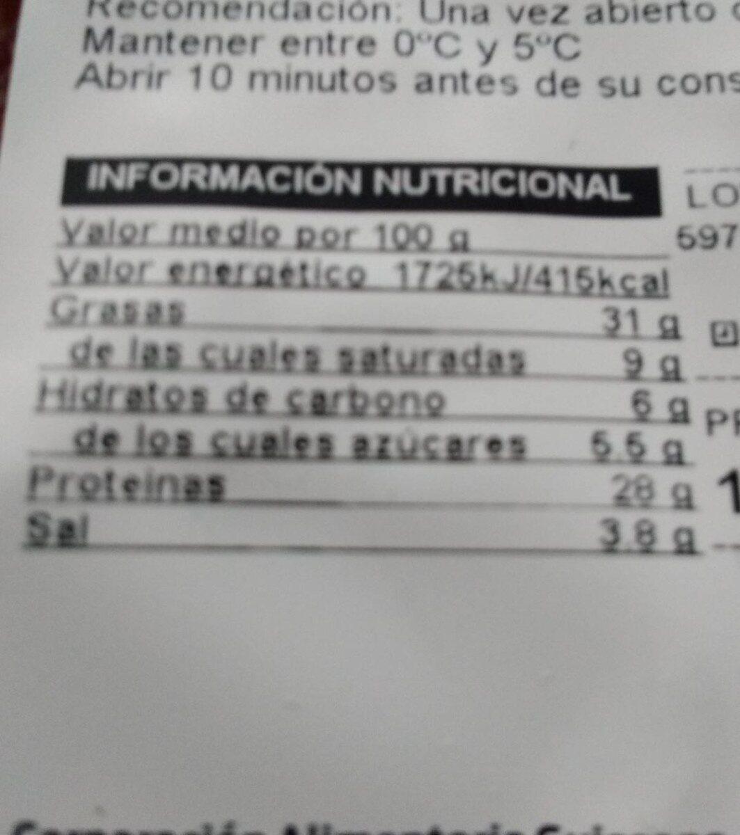 Longaniza con pavo - Nutrition facts - es