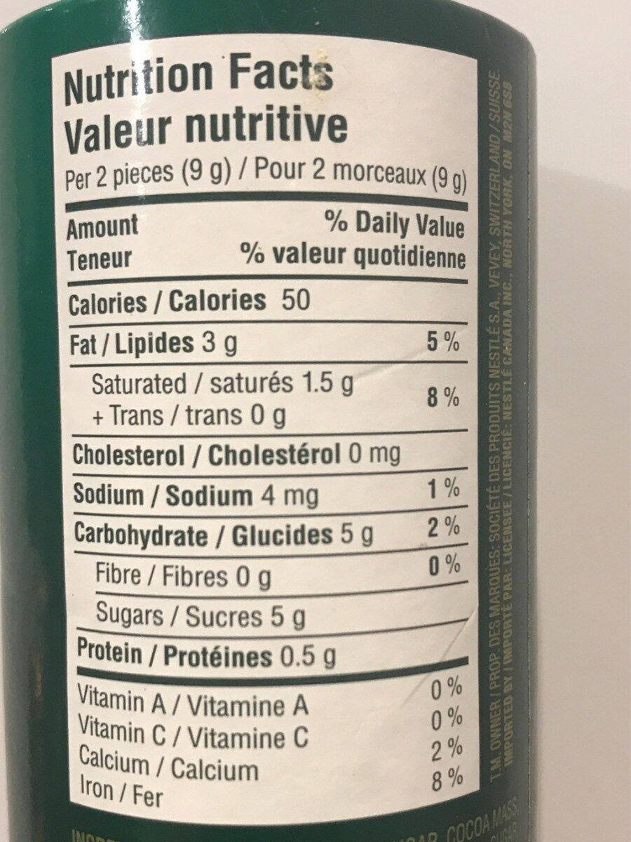 After Eight - Nutrition facts - fr