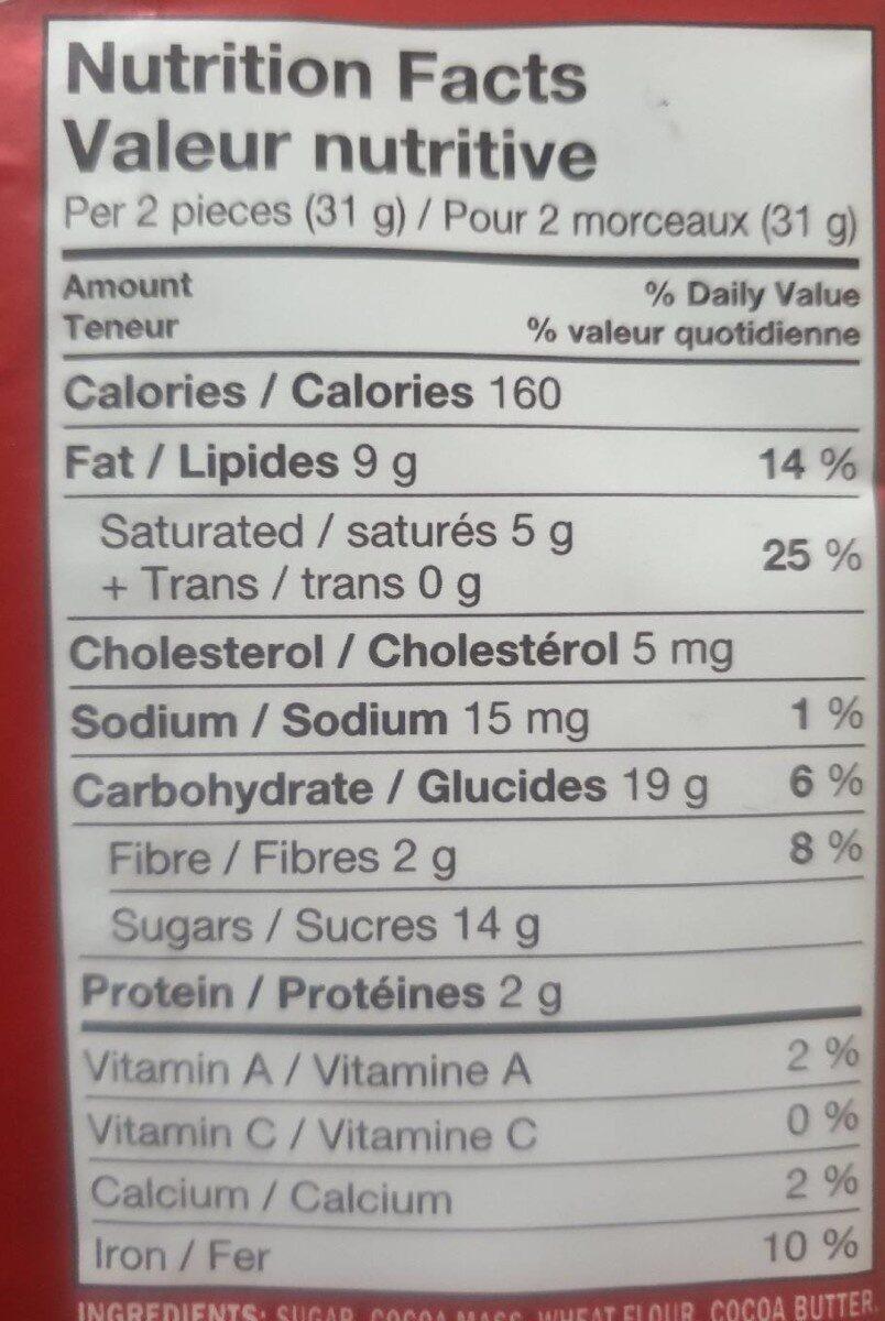 Kit Kat Dark - Nutrition facts - fr