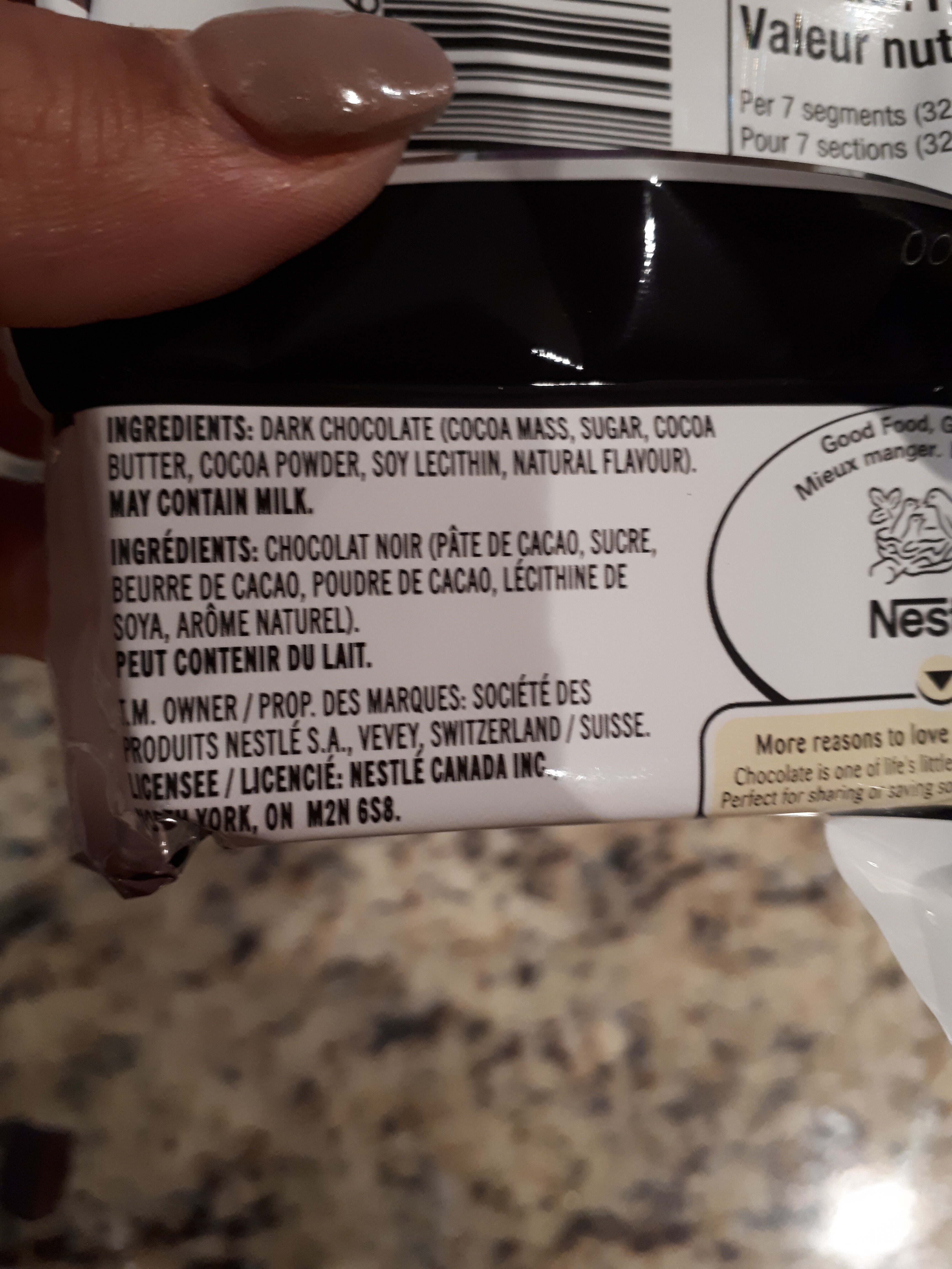 Aero chocolat noir 70% - Ingredients - en