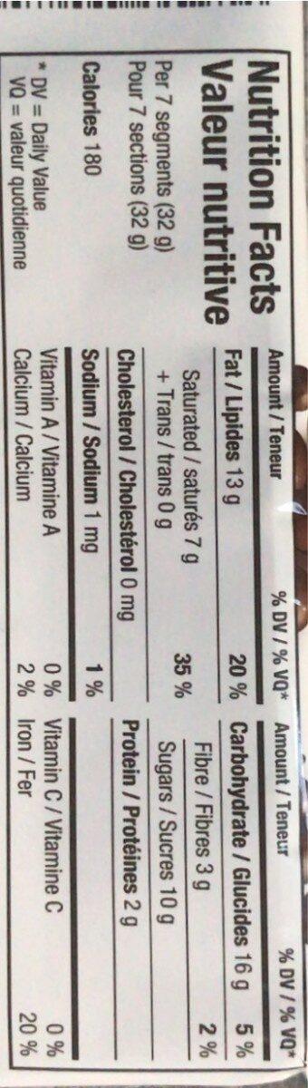 Aero chocolat noir 70% - Informations nutritionnelles - fr