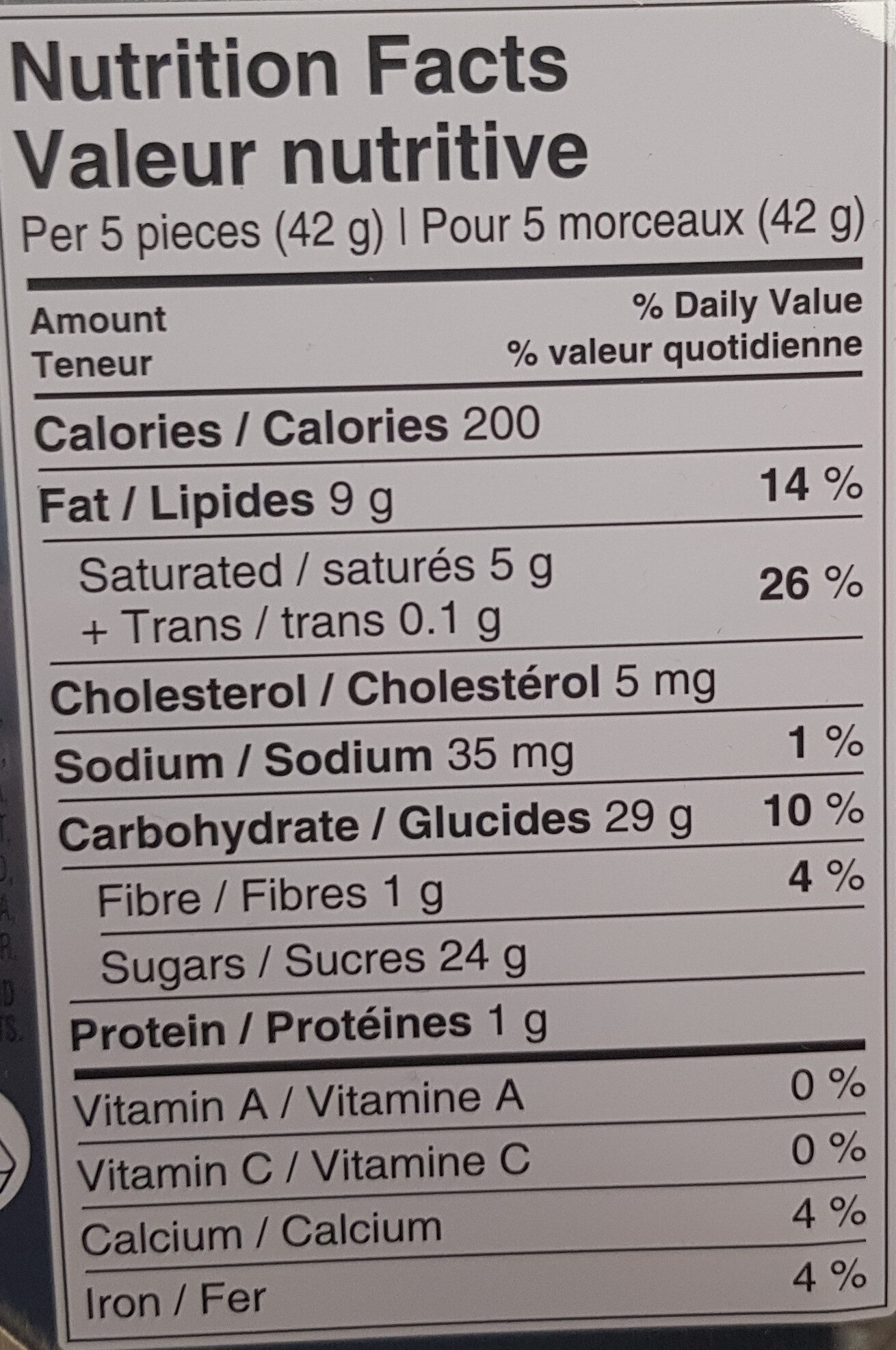 Quality Street - Nutrition facts - en
