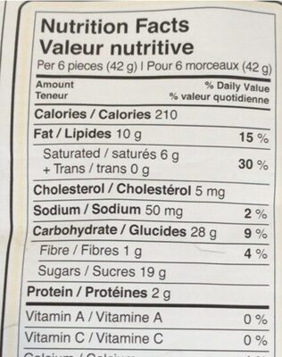 Coffee crisp minis - Nutrition facts - en