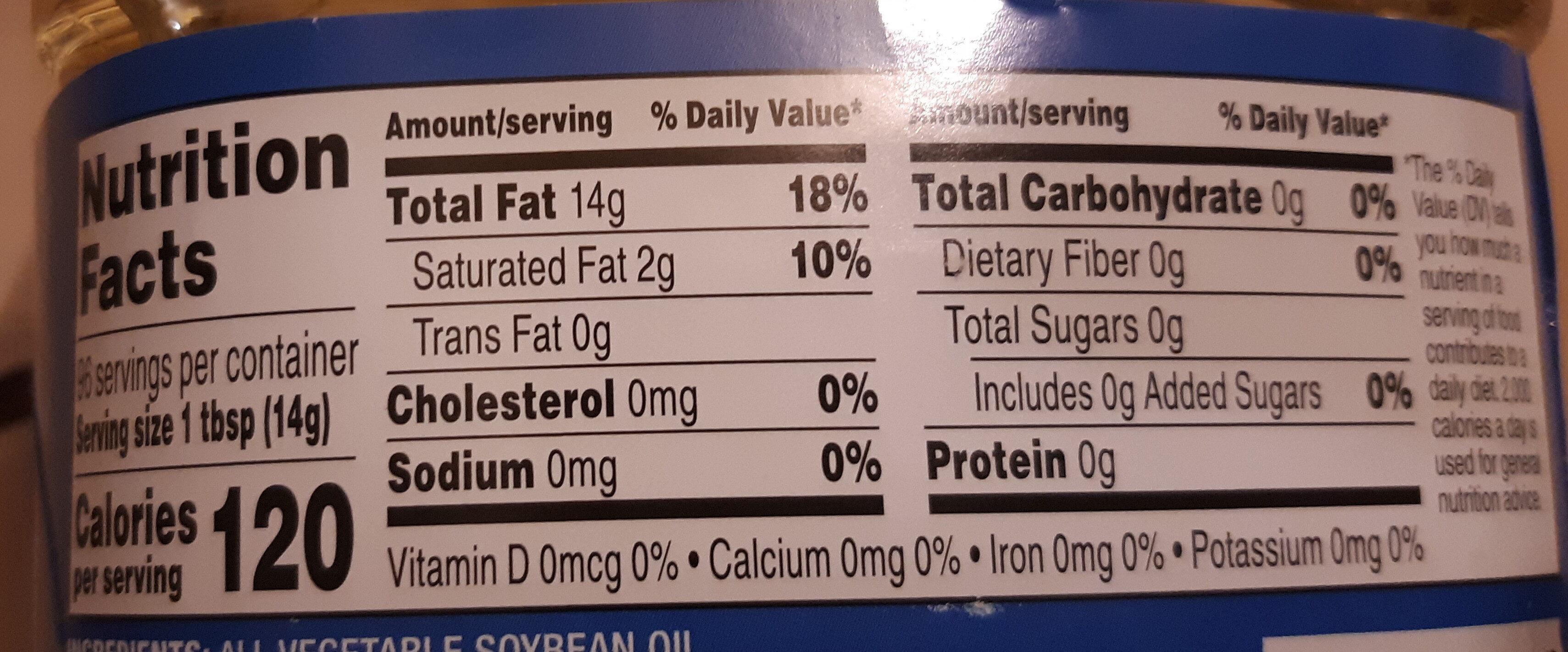 Vegetable oil - Nutrition facts - en