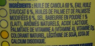 Margarine huile d'avocat - Ingrédients - fr