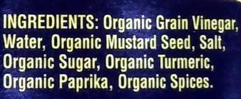 Trader joe's, organic yellow mustard - Ingredients - en