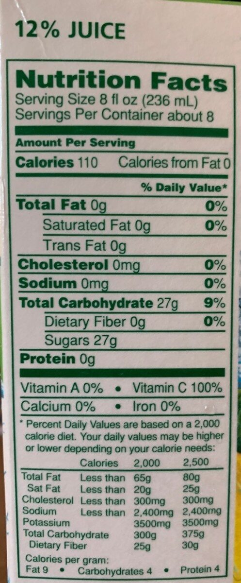 Original lemonade - Nutrition facts