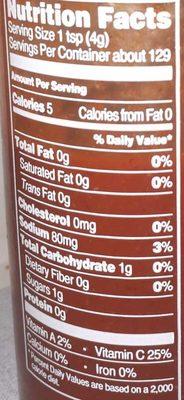 Trader joes, sriracha sauce - Nutrition facts - en