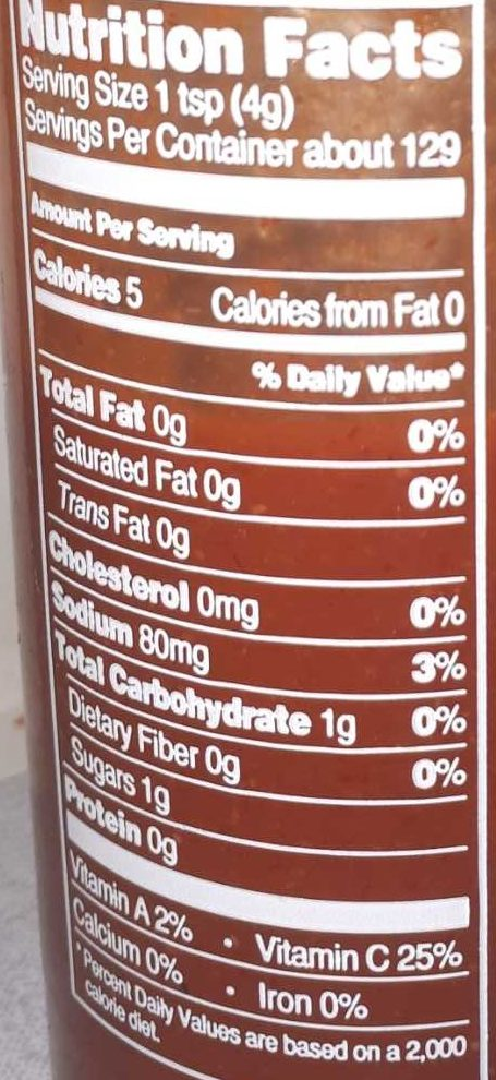 Sriracha Sauce - Nutrition facts