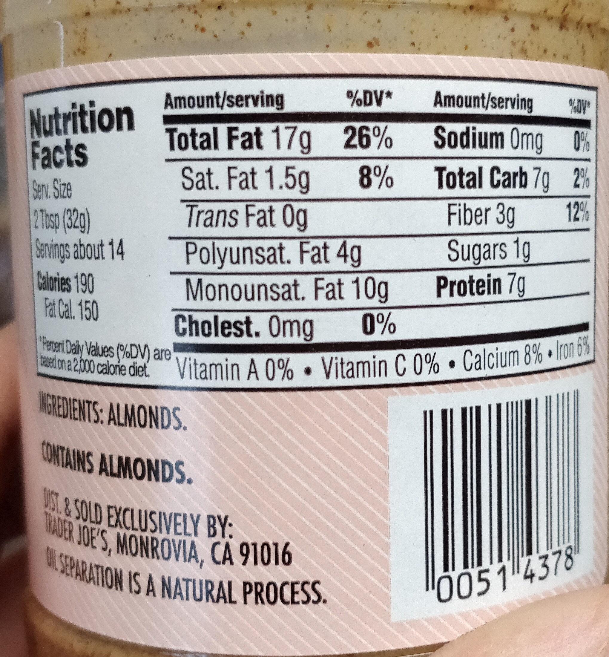 trade a joes peanut butter - Nutrition facts - en