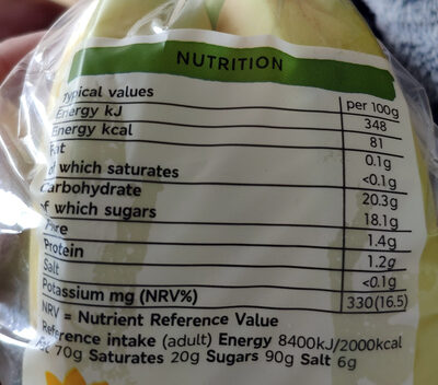 Fairtrade Bananas - Nutrition facts - en