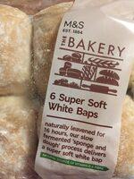 6 super soft white baps - Product