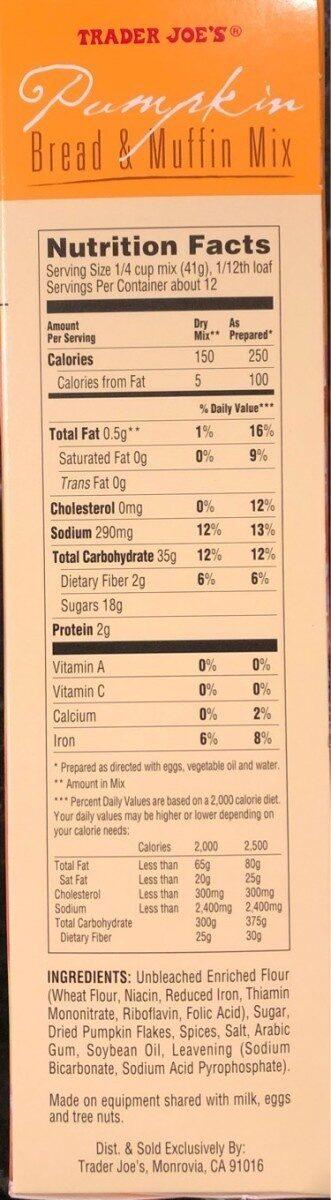 Pumpkin Bread & Muffin Mix - Nutrition facts - en