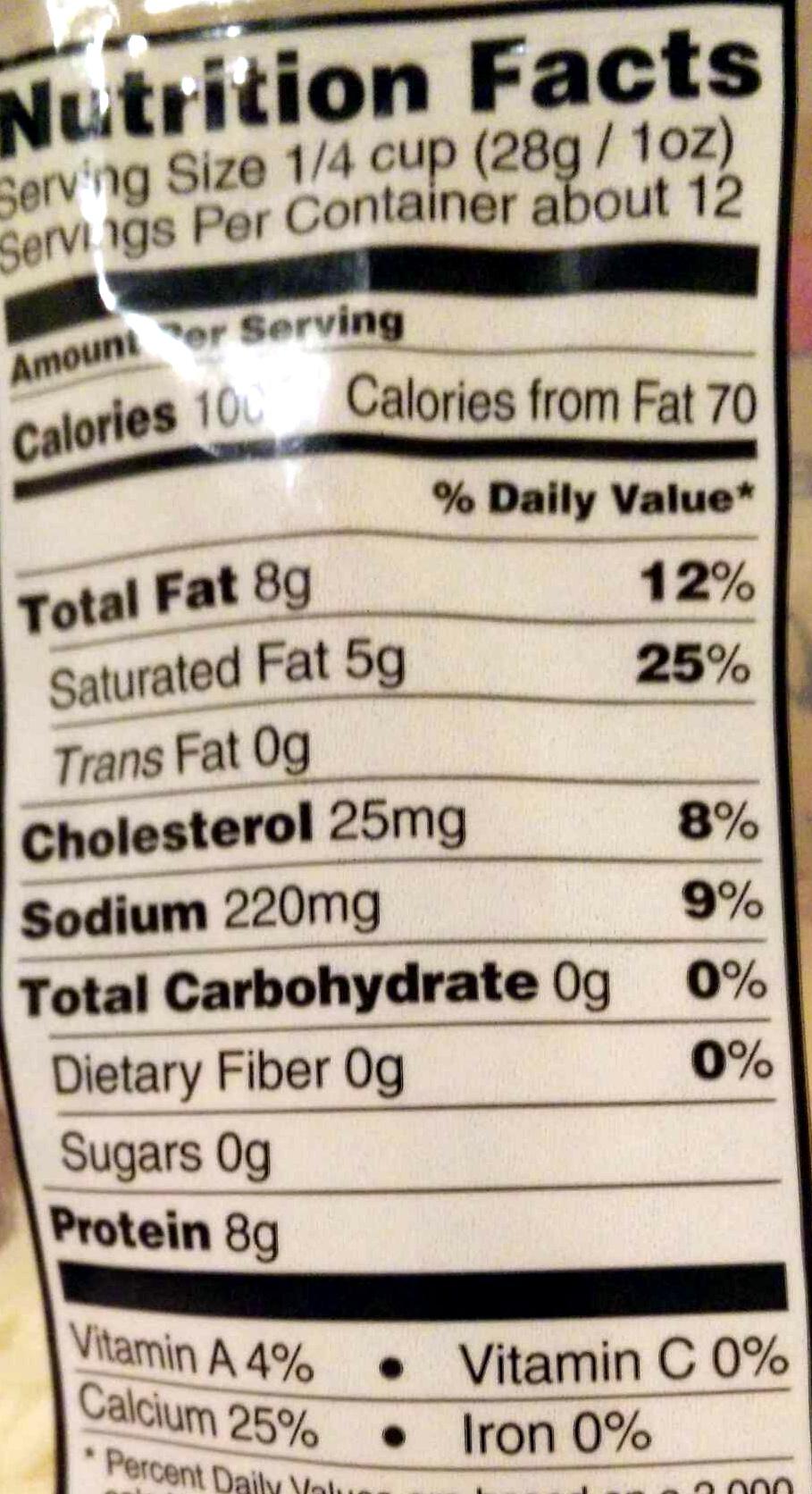 Quattro Formaggio - Nutrition facts