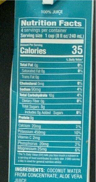 Coconut water with aloe vera juice - Nutrition facts - en