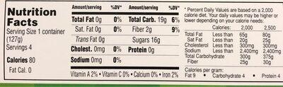Organic apple sauce - Nutrition facts